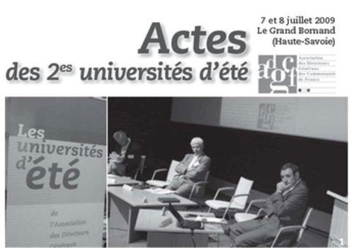 Actes des 2èmes universités d'été