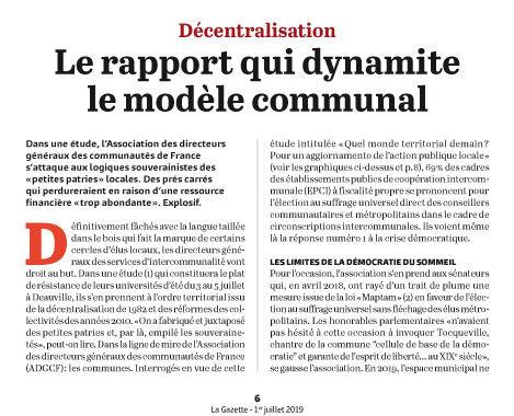 Le rapport qui dynamite le modèle communal